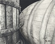 Pinot Noir Drawings Framed Prints - Press to Barrel Framed Print by Mark Treick