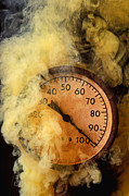 Heat Photo Prints - Pressure gauge with smoke Print by Garry Gay