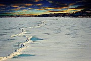 Ice-covered Prints - Pressure Ridge On Lake Sakakawea Print by Christy Patino