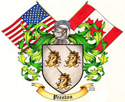 Family Crest Art - Preston Family Crest by Sheryl Unwin