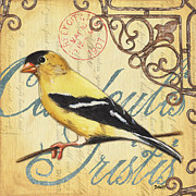 Scrolls Prints - Pretty Bird 3 Print by Debbie DeWitt