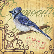 Vintage Blue Prints - Pretty Bird 4 Print by Debbie DeWitt