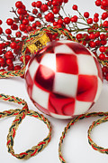 Checker Framed Prints - Pretty Christmas Ornament Framed Print by Garry Gay