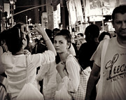 Pretty Girl In The Crowd - Times Square - New York Print by Miriam Danar