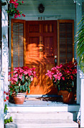 Florida Flowers Framed Prints - Pretty House Door in Key West Framed Print by Susanne Van Hulst