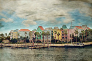 Colorful Houses Prints - Pretty Houses All In A Row Nassau Print by Kathy Jennings