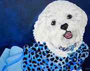 White Maltese Framed Prints - Pretty in Blue Framed Print by Debi Pople