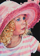 Hand-painted Portraits Paintings - Pretty In Pink by Hanne Lore Koehler