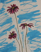 Daisies Drawings Prints - Pretty In Pink Print by Marcia Weller-Wenbert