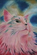 Cute Cat Pastels Prints - Pretty in Pink Print by Samantha  Dye