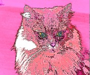 Puppies Digital Art - Pretty Kitty in Pink by Kathy Budd