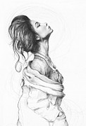 Pencil Portrait Drawings Prints - Pretty Lady Print by Olga Shvartsur