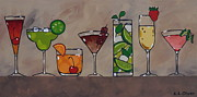 Champagne Paintings - Pretty Party Drinks by Elisabeth Olver