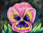 Shana Jackson Pastels Prints - Pretty Pink Pansy Person Print by Shana Rowe