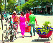 Couples Paintings - Pretty Pink Summer Dress Sunny Stroll Licari St Denis Scene Montreal Bike Racks And Flowers Cspandau by Carole Spandau