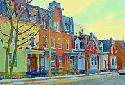 South West Montreal Posters - Pretty Row Houses Suburban Sidestreet Winter Pointe St Charles Montreal Art City Scenes C Spandau Poster by Carole Spandau