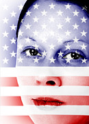 20s Photo Prints - Pretty woman with american flag painted on face Print by Fizzy Image
