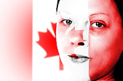 4th July Posters - Pretty woman with canadian flag painted on face Poster by Fizzy Image