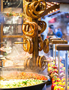 Fresh Food Photo Prints - Pretzels and food at German Christmas Market Print by Susan  Schmitz