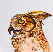 Birds Of Prey Mixed Media Prints - Prey for Wisdom - Horned Owl Painting Print by Kelly     ZumBerge