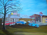 Service Station Paintings - Prices Bar B Que and Grille by Linda Bright Toth