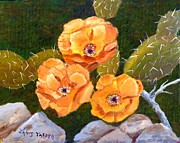 Lizards Paintings - Prickley Pear Cactus by Janis  Tafoya