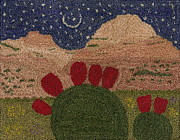 Stars Tapestries - Textiles Prints - Prickly Pear In The Moonlight Print by Jan Schlieper