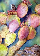 Pear Art Painting Framed Prints - Prickly Perch Framed Print by Patricia Pushaw