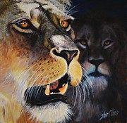 African Lion Painting Framed Prints - Pride in the Past Framed Print by Shirl Theis