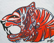 Mascot Painting Prints - Pride of the Tiger Print by Brandy Nicole Clark