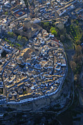 Historic Villages Prints - Priego de Cordoba fort from the air Print by Guido Montanes Castillo