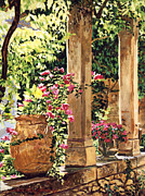 Patio Prints - Prieure Hotel Gardens Villeneuve Print by David Lloyd Glover