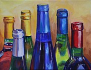 Wine Bottle Paintings - Primarily Wine by Donna Tuten