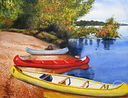 Canoe Painting Posters - Primary Colors Poster by Shirley Braithwaite Hunt