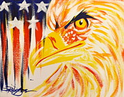 American Eagle Painting Metal Prints - Primary Eagle Metal Print by Darren Robinson