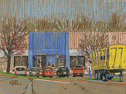 Truck Pastels Prints - Primary Loading Docks Print by Donald Maier
