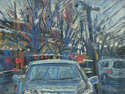 Plein Air Drawings Metal Prints - Primary Parking Metal Print by Donald Maier