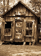 Primative Framed Prints - Primative Post Office Cabin in Sepia Framed Print by Douglas Barnett
