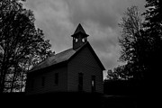 Smoky Skies Prints - Primitive Church Print by Sherri Duncan