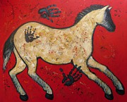 Outsider Art Paintings - Primitive Modern Cave Art Horse by Carol Suzanne Niebuhr