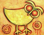 Owl Paintings - Primitive Owl by Carol Suzanne Niebuhr