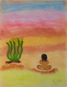 Sitting  Pastels Posters - Primitive Woman Sitting Poster by Robyn Louisell