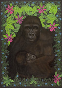 Gorilla Mixed Media Posters - Primordial Spirit of Motherhood Poster by Diana Perfect