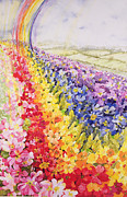 Watercolor Landscapes Posters - Primrose Rainbow Poster by Joan Thewsey