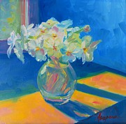 Flowers In White Vase Prints - Primroses in Spring Light - Still Life Print by Patricia Awapara