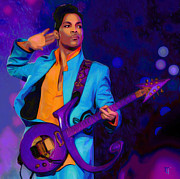 Famous Singer Framed Prints - Prince 3 Framed Print by Byron Fli Walker