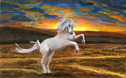 Prairie Sunset Paintings - Prince of the Fiery Plains by Peter Piatt