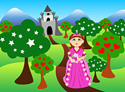 Ball Gown Posters - Princess and castle landscape Poster by Sylvie Bouchard