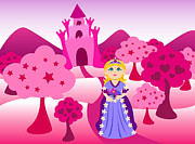 Ball Gown Posters - Princess and pink castle landscape Poster by Sylvie Bouchard