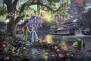 Disney Framed Prints - Princess and the Frog Framed Print by Thomas Kinkade